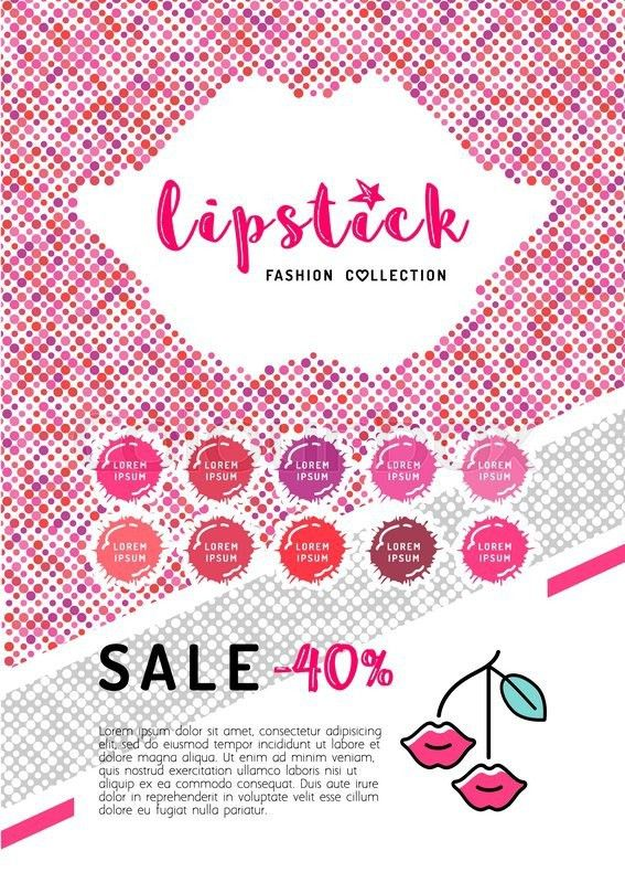 Beauty makeup, lipstick discount on A4 flyer. The concept of the ...