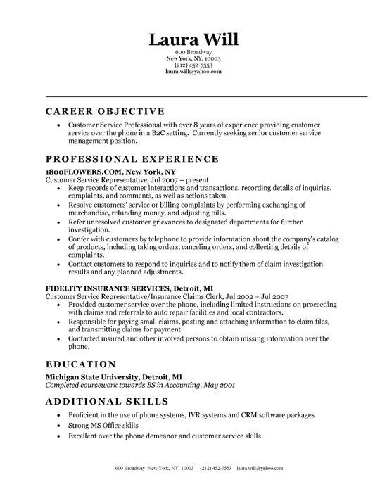Examples Of Resumes For Customer Service. Call Center ...
