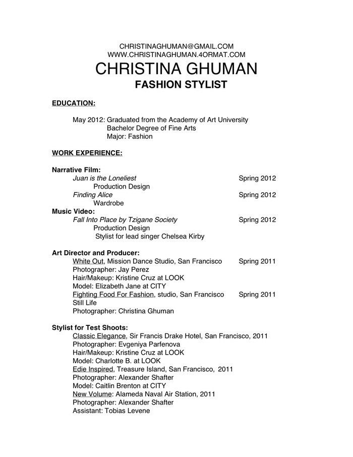 Personal Stylist Resume Sample - Corpedo.com