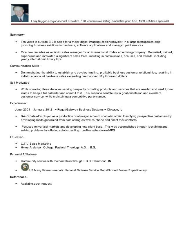 Larry T. Haygood Production Print Resume 2015