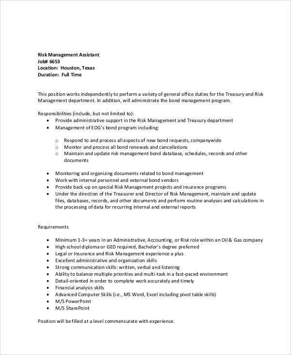 Risk Management Job Description Sample - 8+ Examples in Word, PDF