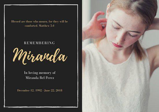 Obituary Card Templates - Canva