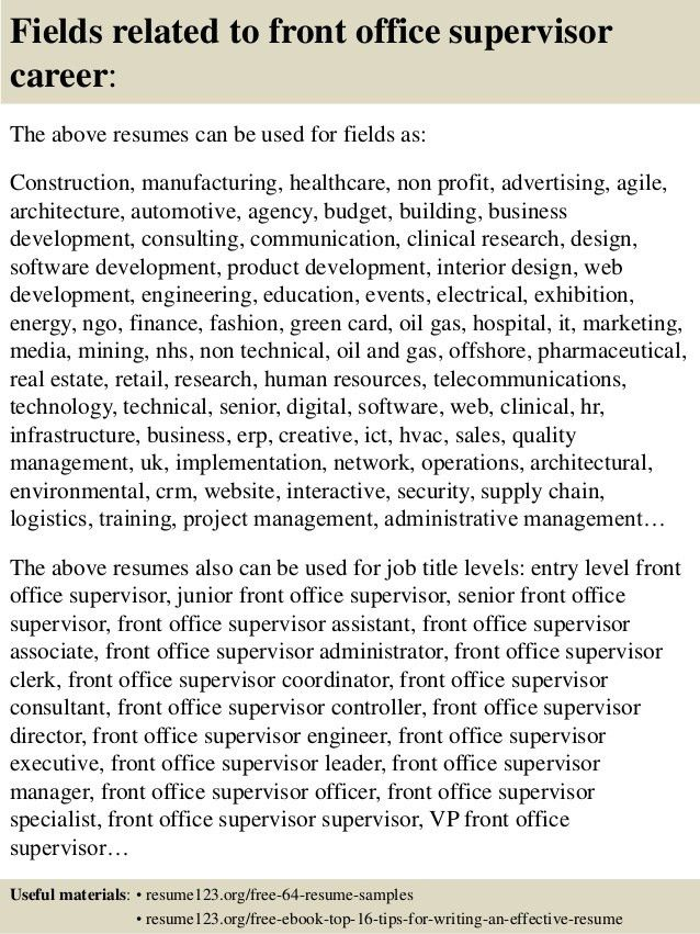 Top 8 front office supervisor resume samples