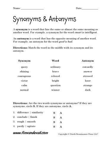 Free Synonyms and Antonyms Worksheets, Language Arts