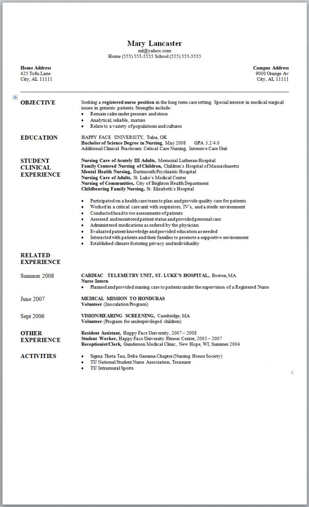 Sample New Graduate Nurse Resume 2 | Sample Nursing Resumes