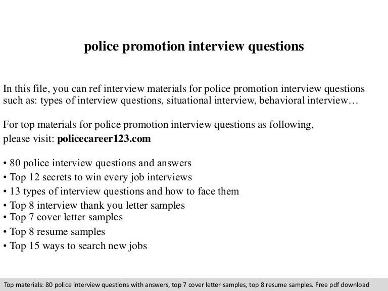Police promotion interview questions