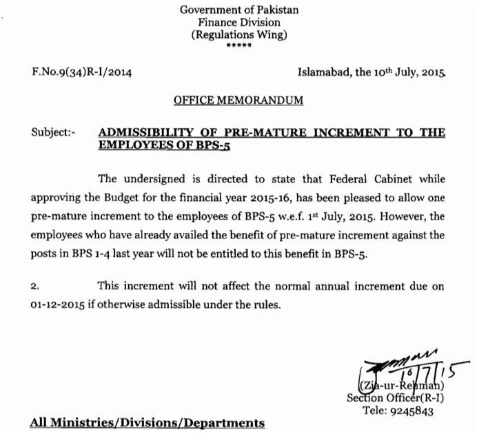 Notification of Grant of Premature Increment to the Employees of ...