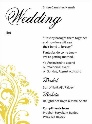 Guide to Wedding Invitations Messages | Invitation wording, Indian ...