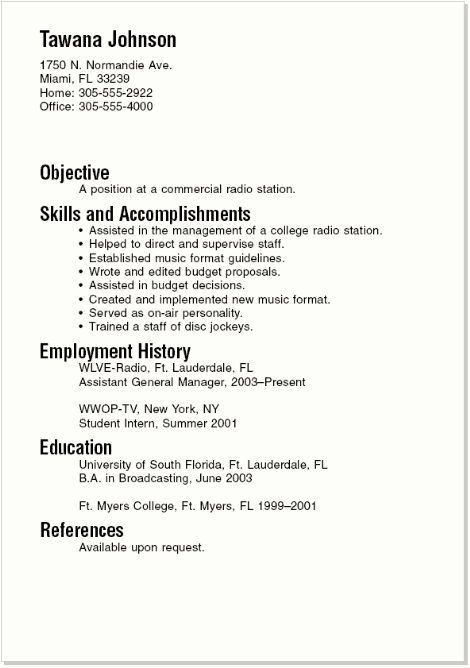 College Graduate Sample Resume | Experience Resumes