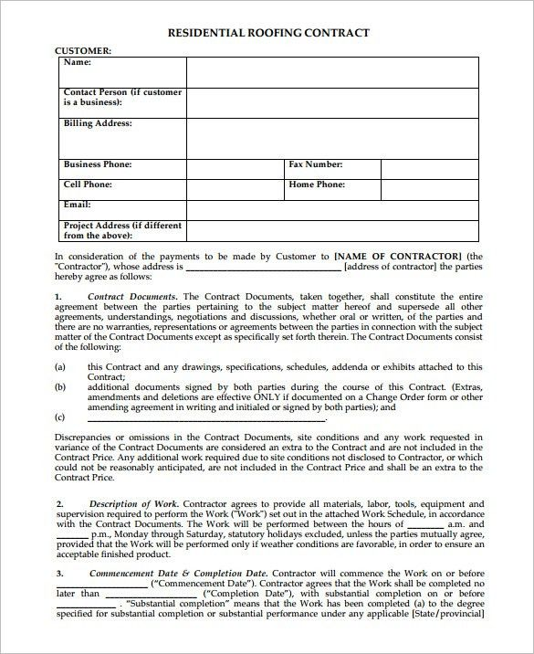 5+ Roofing Contract Templates U2013 Free PDF Format Download! | Free .