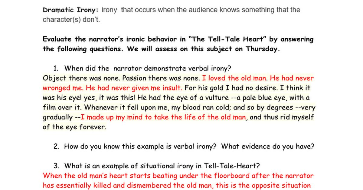 Irony in the Tell-Tale Heart Answers - Google Docs