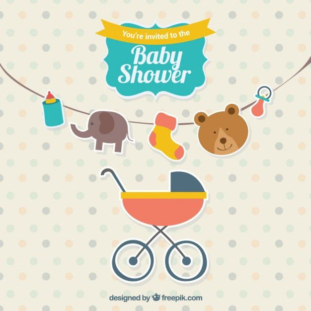 Cute baby shower invitation Vector | Free Download