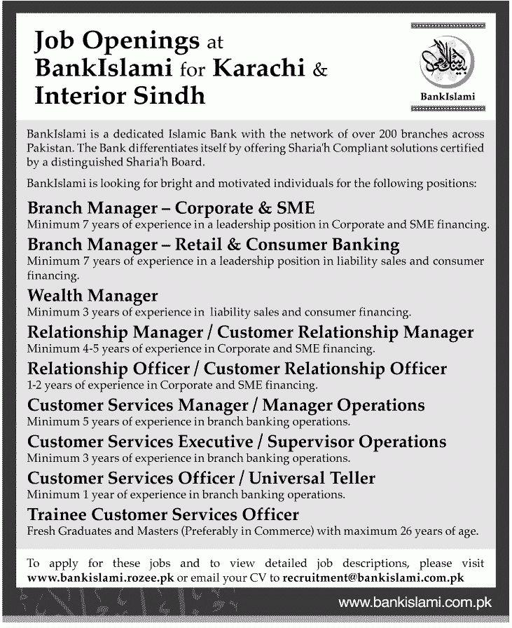 Bank Islami Career Opportunities - Bank Islami Jobs in Karachi ...