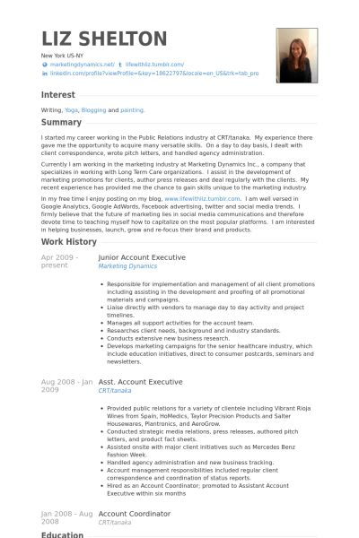 Junior Account Executive Resume samples - VisualCV resume samples ...