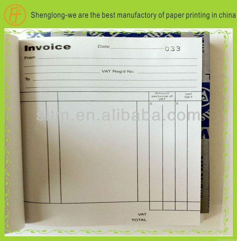 invoice template book printing, carbonless, receipt sample, Paper ...