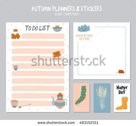 Cute Daily Planner Template Note Paper Stock Vector 473483347 ...