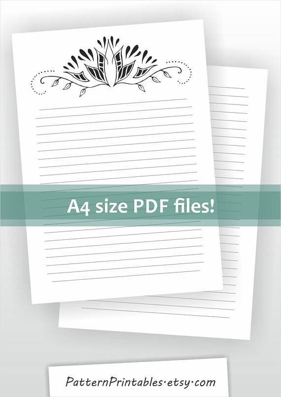 Digital A4 size lined letter writing paper. Printable pdf. Black ...