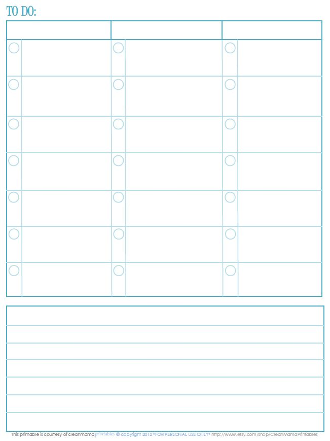 To Do Listing - FREE PRINTABLE! - Clean Mama