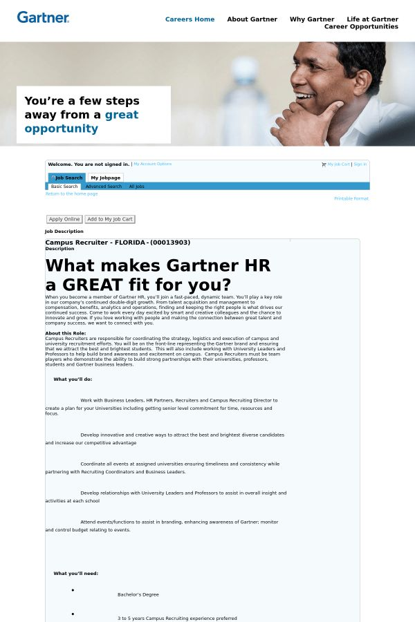 Campus Recruiter - Florida job at Gartner in Fort Myers, FL ...