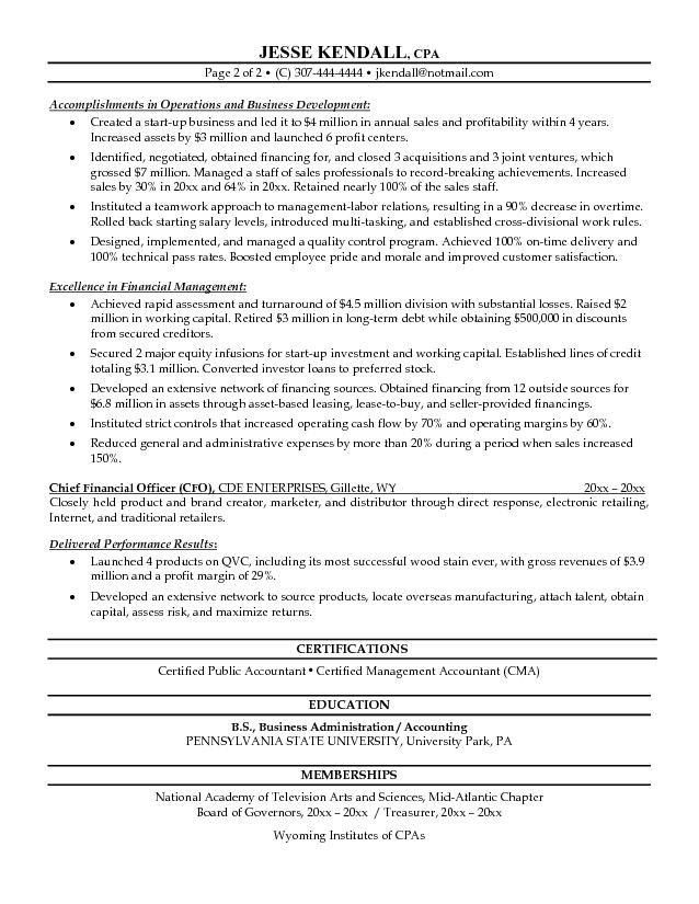 cfo resume sample resume sample for a cfo cfo sample resume