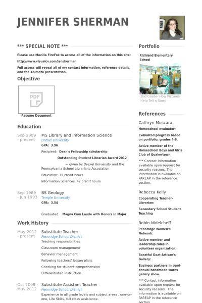 Substitute Teacher Resume samples - VisualCV resume samples database