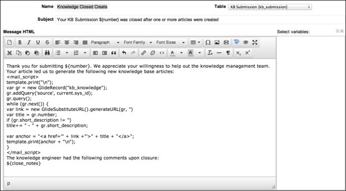 Email Templates - ServiceNow Wiki