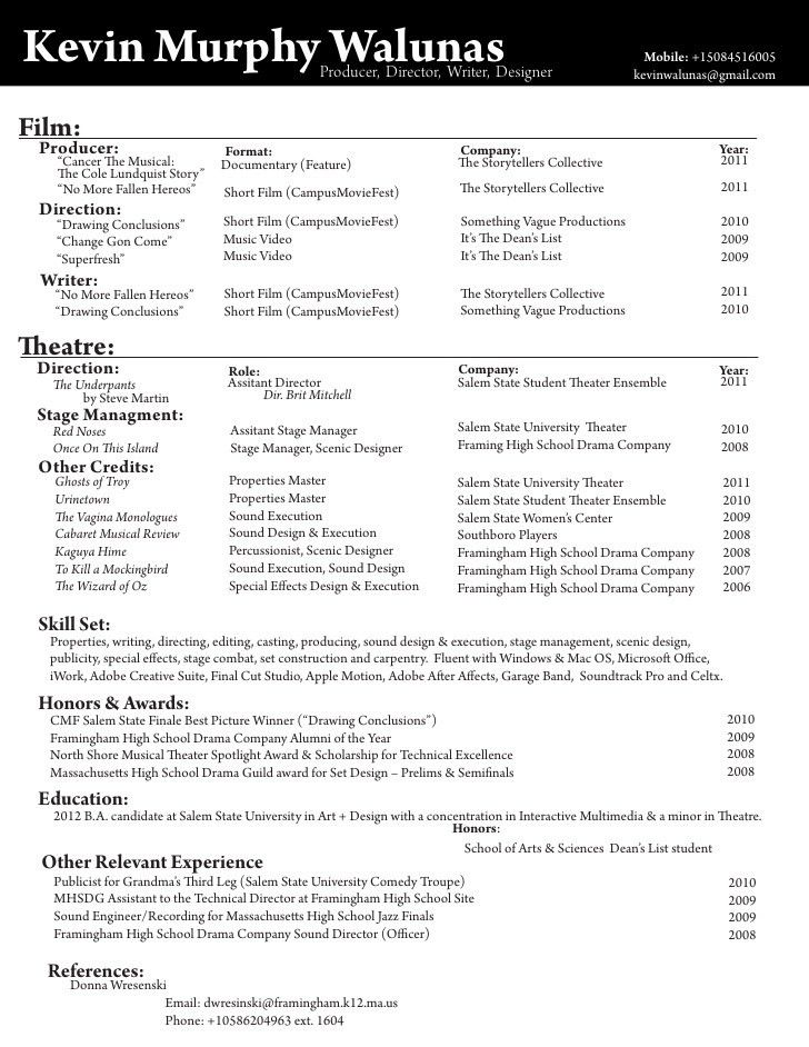 Film & Theatre Resume Of Kevin Murphy Walunas