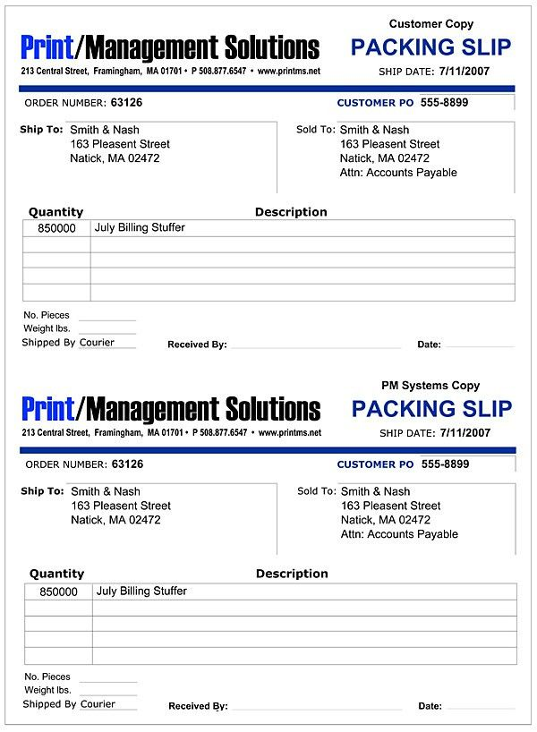 Print Management Solutions, Customer Packing Slip