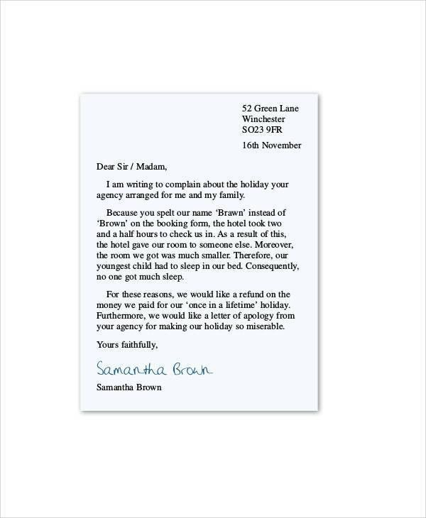 Complaint Letter Example. Free Download 14+ Restaurant And Hotel ...