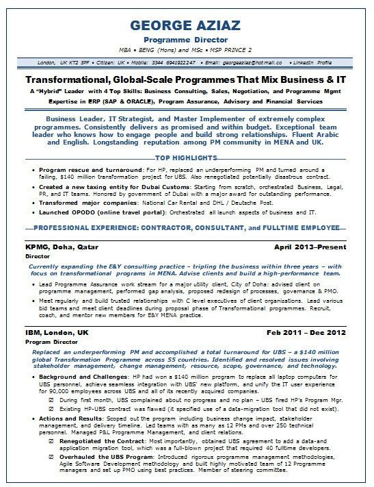 Resume Samples IT Program Management PMP IT -