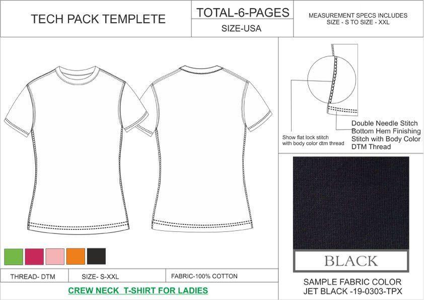 Tech Pack Template Crew Neck T-Shirt Ladies USA Regular Size