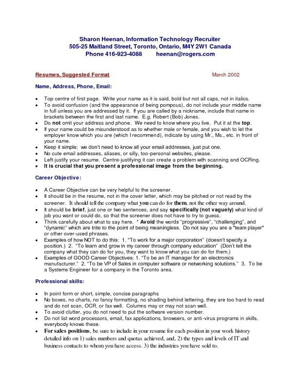 How To Write A Resume In Canada | Samples Of Resumes