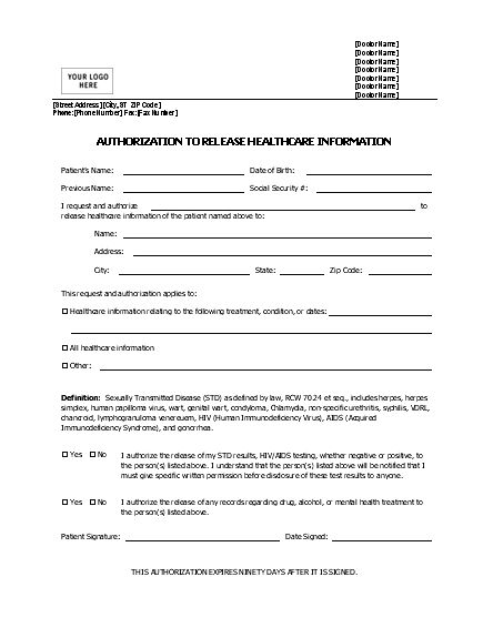 Authorization To Release Healthcare Information Form | Printable ...