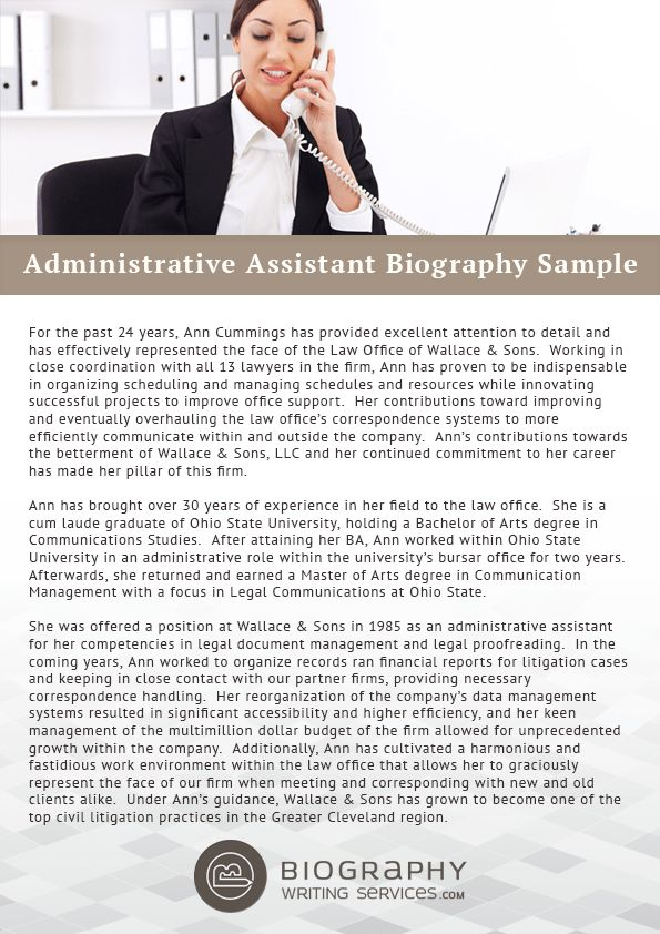 Administrative Assistant Bio Writing Service | Biography Writing ...