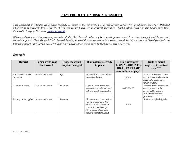 Great Film Production Risk Assessment Form