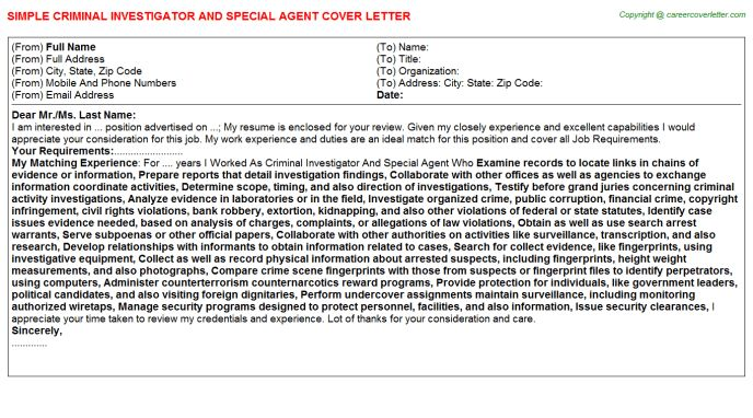 Criminal Investigator And Special Agent Cover Letter