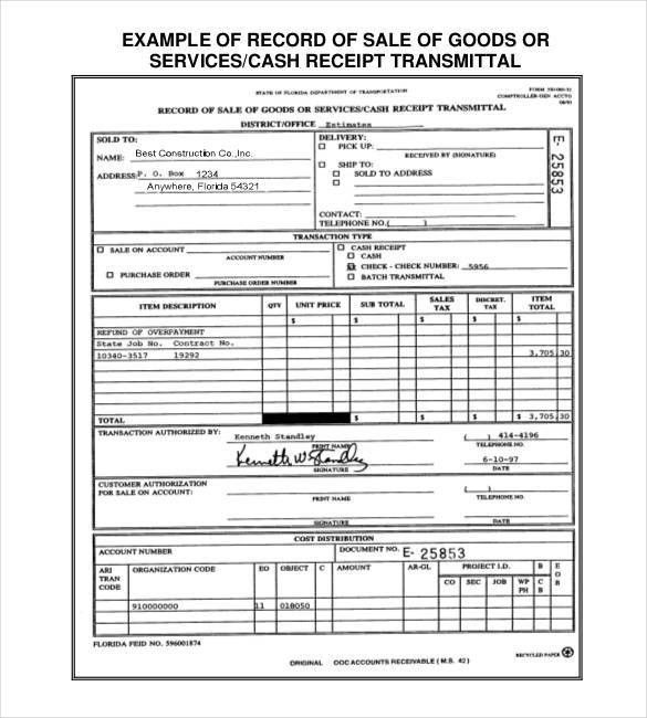 Sales Receipt Template - 22+ Free Word, Excel, PDF Format | Free ...