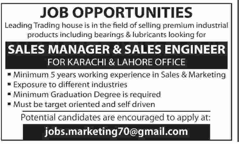 Jobs Opportunities Sales Manager, Sales Engineer Lahore & Karachi ...