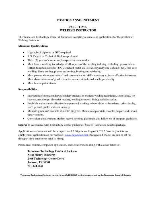 sample welder resume