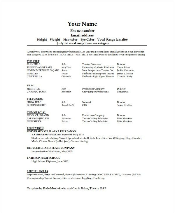 exciting theater resume template 5. theatre acting sample resume ...