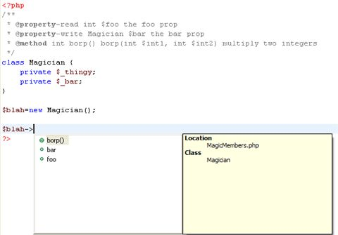 Content Assist - PHP Development Tools Help
