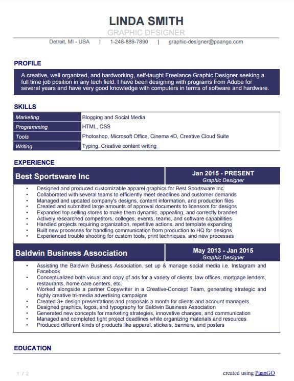 Graphic Designer Sample Resume   MCAL Resume Blog