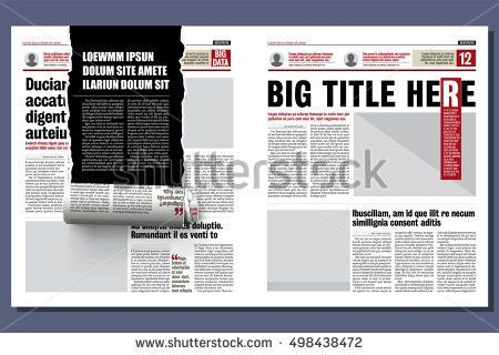 Graphical Design Tabloid Newspaper Template Creative Stock Vector ...