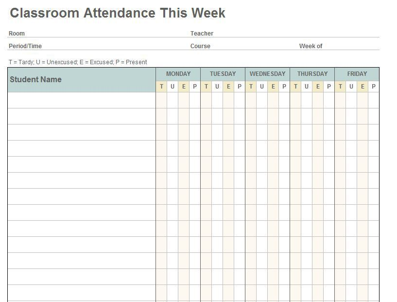 Editable Weekly Classroom Attendance Sheet Template with Blank ...