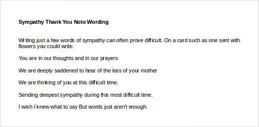 Sympathy Thank You Note Template - 8+ Free Word, Excel, PDF Format ...