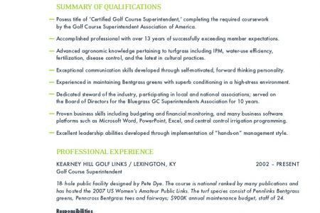 Assistant Golf Course Superintendent Resumes - Reentrycorps