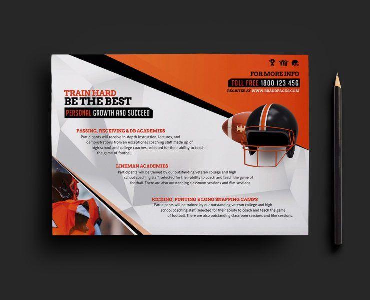 Football Camp Flyer Template for Photoshop & Illustrator - BrandPacks