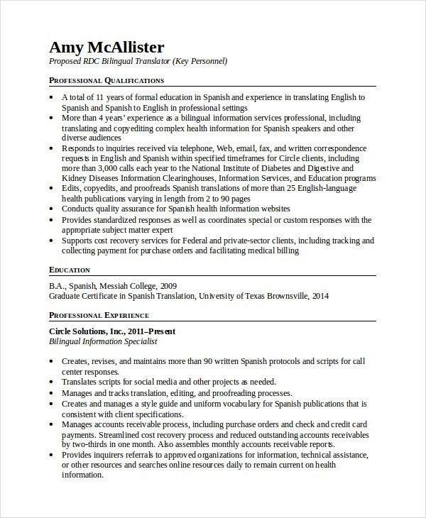 Bilingual Resume Template - 5+ Free Word, PDF Document Downloads ...