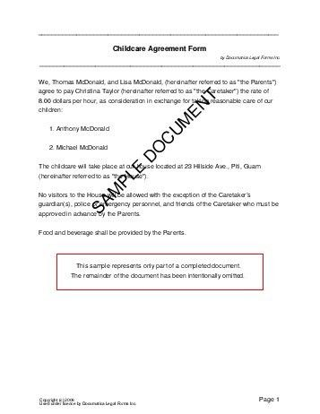 Free Child Care Agreement (US Territories) - Legal Templates ...