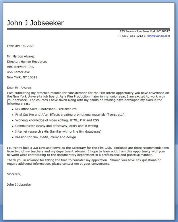 college student internship cover letter